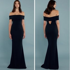 KATIE MAY Off the Shoulder black Crepe Gown (L1/7)